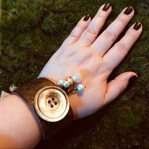 Jewelry - Vintage inspired leather cuff w/ button & pearls